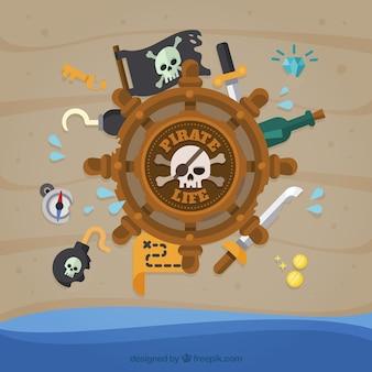 Priorità bassa del timone con gli elementi del pirata