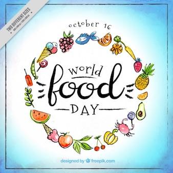 Priorità bassa dell'acquerello con il cibo per la celebrazione della giornata mondiale dell'alimentazione