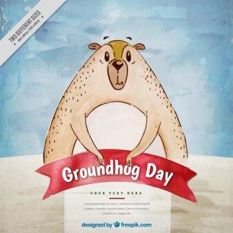 Priorità bassa dell'acquerello con il giorno della marmotta