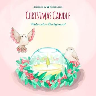 Priorità bassa dell'acquerello con una candela di natale e uccelli
