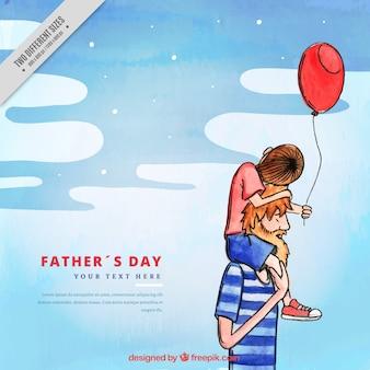 Priorità bassa dell'acquerello del padre con il figlio