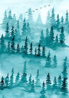 Priorità bassa dell'acquerello di alberi foresta nebbiosa del pino