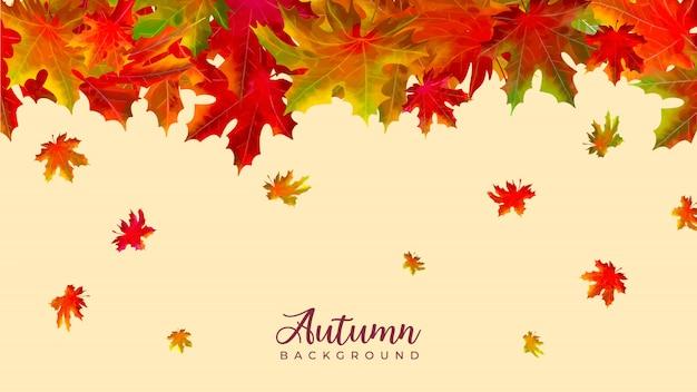 Priorità bassa dell'acquerello di foglie che cadono autunno