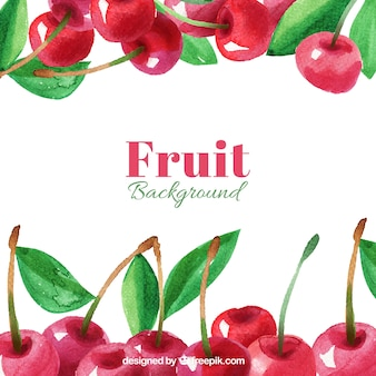 Priorità bassa dell'acquerello di gustose ciliegie