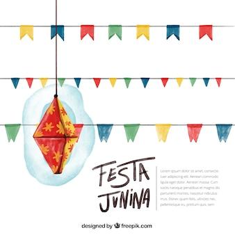 Priorità bassa dell'acquerello di junina festa con la decorazione