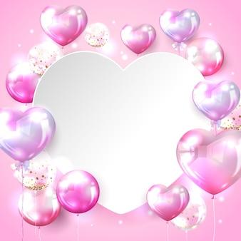 Priorità bassa dell'aerostato del cuore nel colore rosa per il disegno di scheda del biglietto di s. valentino