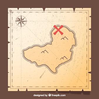 Priorità bassa dell'annata della mappa del tesoro del pirata