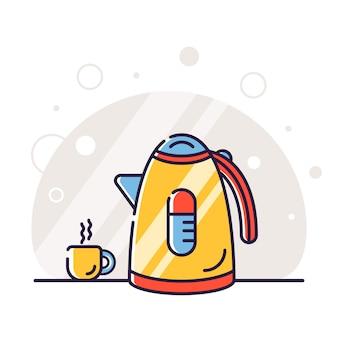 Priorità bassa dell'illustrazione della tazza e della teiera