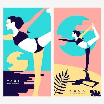 Priorità bassa dell'illustrazione di vettore di yoga