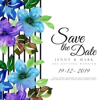 Priorità bassa dell'invito di cerimonia nuziale floreale dell'acquerello