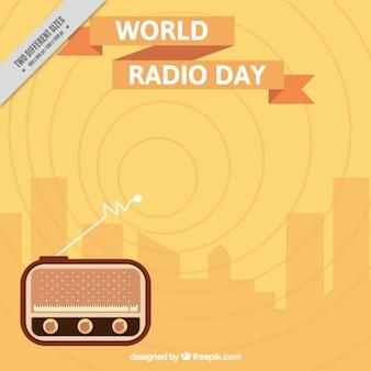 Priorità bassa dell'onda del giorno della radio globale nel design piatto