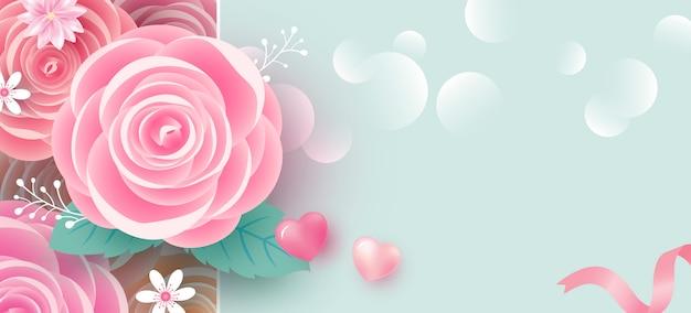 Priorità bassa della bandiera dei fiori della rosa per i biglietti di s. valentino