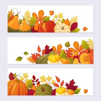 Priorità bassa della bandiera di autunno per il disegno del giorno del ringraziamento. zucche e foglie in stile cartone animato.
