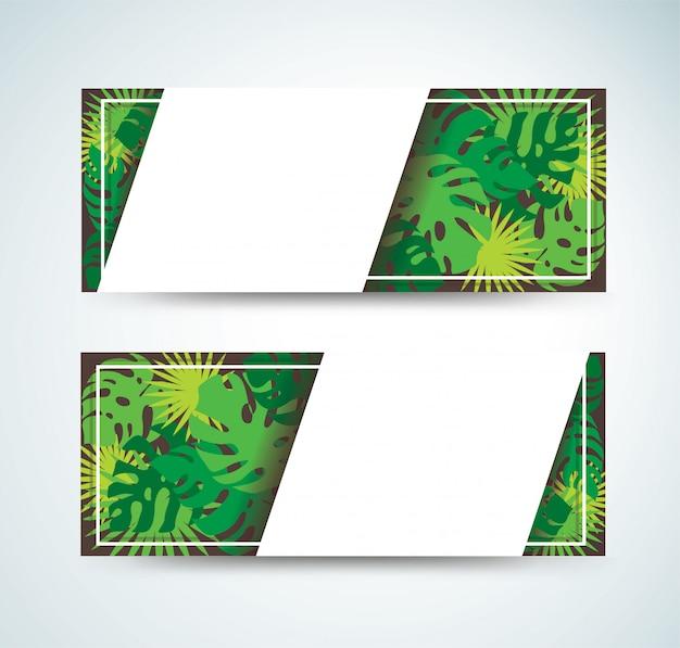 Priorità bassa della bandiera di foglie tropicali
