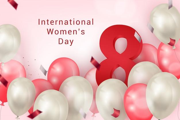 Priorità bassa della bandiera di giornata internazionale della donna con elemento di palloncini