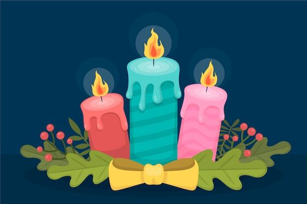 Priorità bassa della candela di natale nella progettazione piana