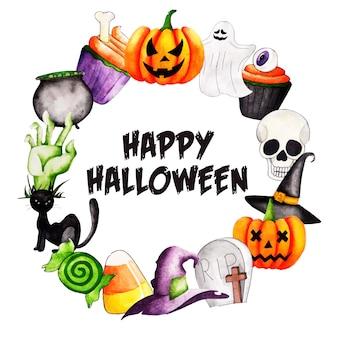 Priorità bassa della corona di halloween dell'acquerello