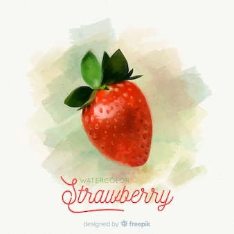 Priorità bassa della frutta dell'acquerello con le fragole