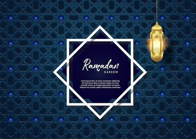 Priorità bassa della geometria del kareem del ramadan con la lanterna