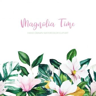 Priorità bassa della magnolia dell'acquerello