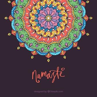 Priorità bassa della mandala con il concetto di namaste