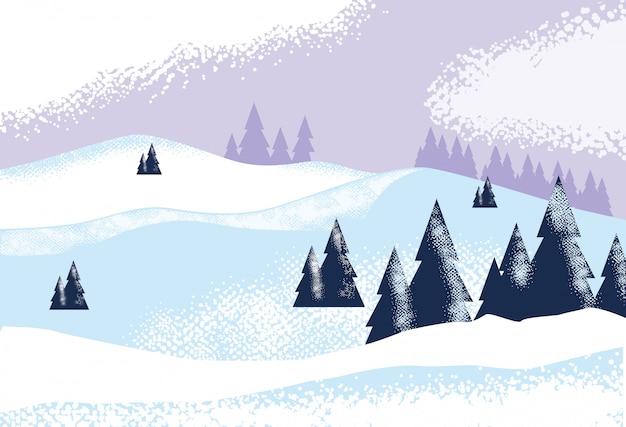 Priorità bassa della natura di scena della natura di snowscape