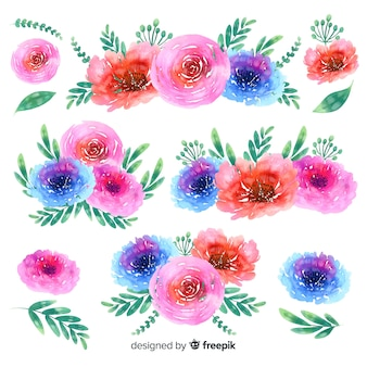 Priorità bassa della raccolta del mazzo floreale dell'acquerello