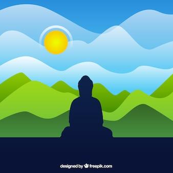 Priorità bassa della siluetta del buddha