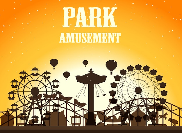 Priorità bassa della siluetta del parco di divertimenti