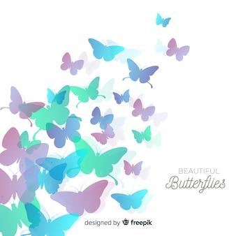 Priorità bassa della siluetta dello sciame della farfalla di gradiente