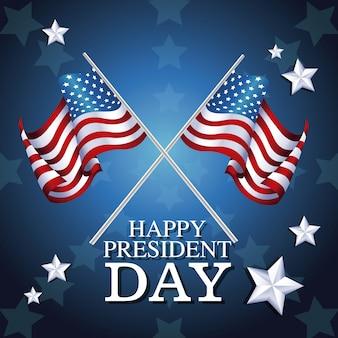 Priorità bassa della stella di simbolo della bandierina attraversata giorno felice di presidente