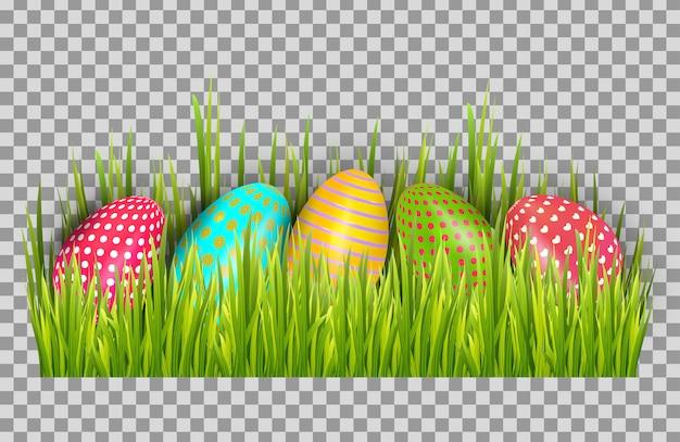 Priorità bassa delle uova di pasqua con erba verde fresca. buona pasqua grande vettore di caccia