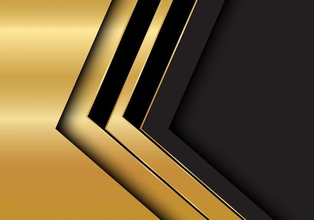 Priorità bassa dello spazio in bianco grigio scuro di direzione della freccia nera dell'oro.
