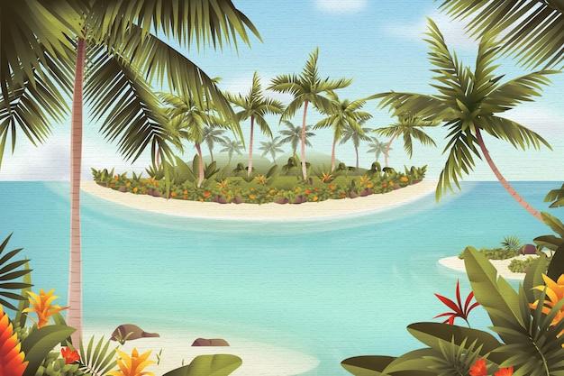 Priorità bassa dello zoom del paesaggio di estate con il mare