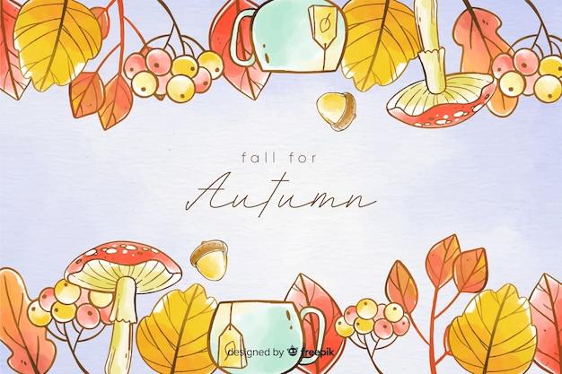 Priorità bassa di autunno dell'acquerello con foglie