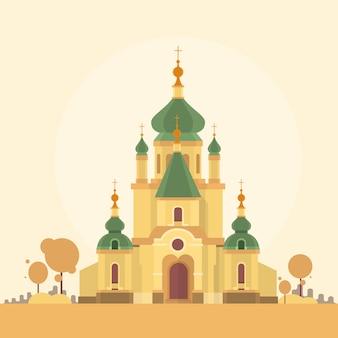 Priorità bassa di autunno di vista della costruzione della cappella della chiesa