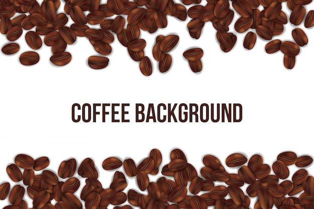 Priorità bassa di caduta dei chicchi di caffè di torrefazione.