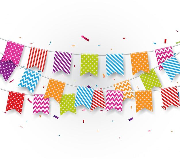 Priorità bassa di celebrazione con bandierine e coriandoli della stamina