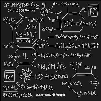 Priorità bassa di chimica disegnata a mano sulla lavagna