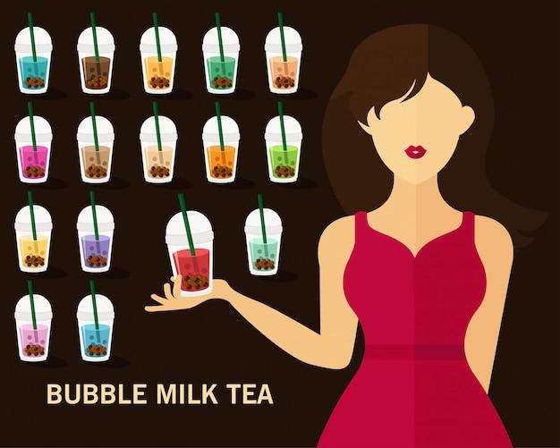 Priorità bassa di concetto del tè del latte della bolla