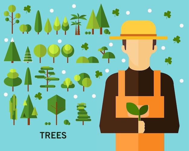 Priorità bassa di concetto di alberi. icone piatte.