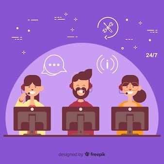 Priorità bassa di concetto di call center piatta