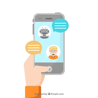 Priorità bassa di concetto di chatbot con dispositivo mobile