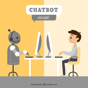 Priorità bassa di concetto di chatbot con robot e ragazzo