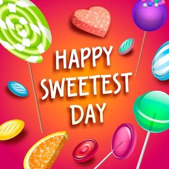 Priorità bassa di concetto di giorno della caramella più dolce. illustrazione isometrica del giorno più dolce della caramella