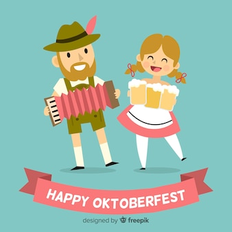 Priorità bassa di concetto di oktoberfest con coppia carina