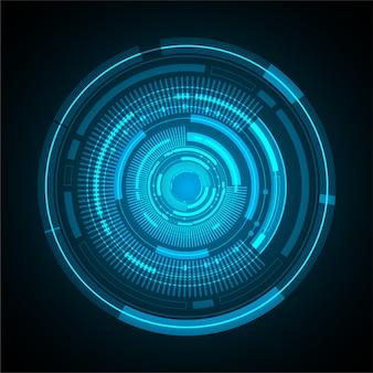 Priorità bassa di concetto di tecnologia cyber futuro dell'estratto della sfera dell'occhio azzurro