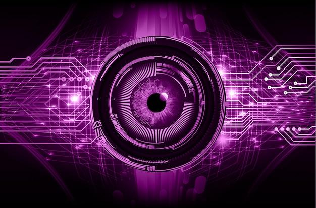 Priorità bassa di concetto di tecnologia del circuito futuro cyber dell'occhio viola