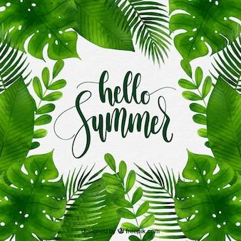 Priorità bassa di estate con diverse piante in stile acquerello