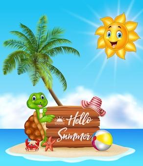 Priorità bassa di estate con tartaruga e cartello in legno